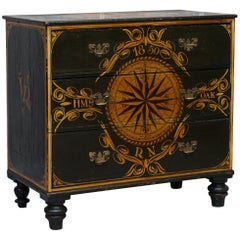 Made from the Timber of Hms Royal Oak Naval Ship Hand Painted Chest of Drawers