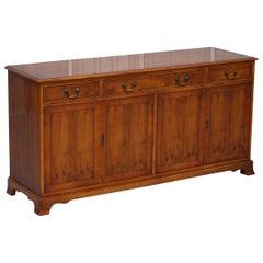 Made in England Bradley Furniture Burr Yew Wood Triple Drawer Sideboard Cupboard