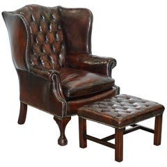 Made in England Chesterfield Leather Wingback Claw & Ball Armchair and Footstool