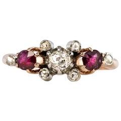 Made in France 19th Century Ruby Diamonds 18 Karat Rose Gold Garter Ring