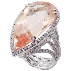 Morganite Diamond 18 KT White Gold Ring Made in Italy