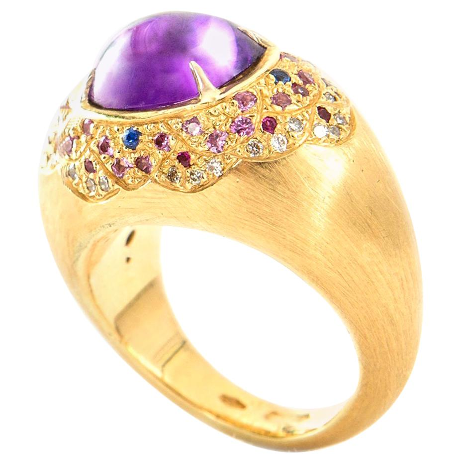 Made in Italy 18Kt Yellow Brushed Gold Amethyst, Ruby and Diamond Cocktail Ring
