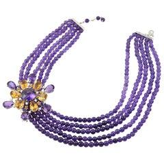 Made in Italy Amethyst Citrine Quartz Diamond 18 Karat Gold Brooch Necklace