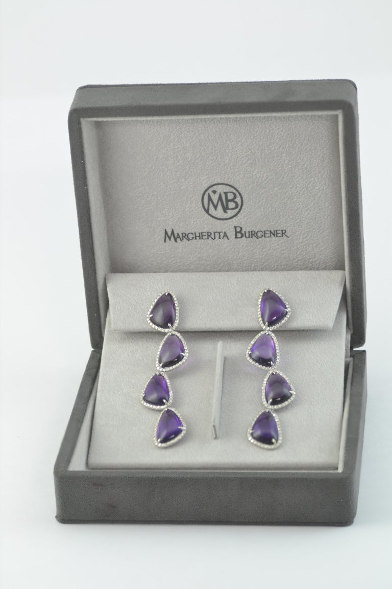 Round Cut Cabochon Amethysts Single Cut Diamonds 18KT White Gold Earrings For Sale
