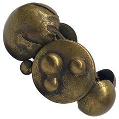 Made In Italy Brutalist Artisan Bronze Cuff Bracelet