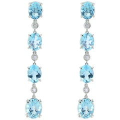 Made in Italy Diamond Blue Topaz 18 Karat White Gold Pendant Earrings