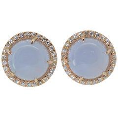 Made in Italy Diamond Rose Gold Chalcedony Earrings
