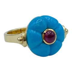 Made in Italy Gemstone Cabochon Ruby Turquoise 18 Karat Gold Roman Style Ring