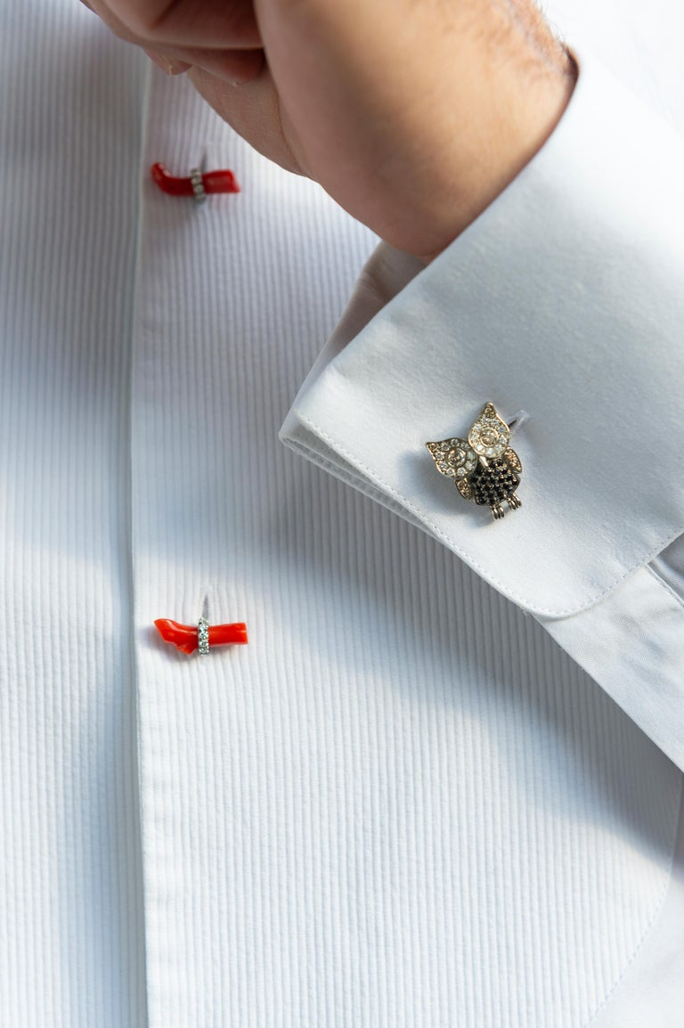 Made in Italy Gold Titanium Black Spinel Diamond Red Rubrum Coral Owl Cufflinks In New Condition For Sale In Valenza , IT