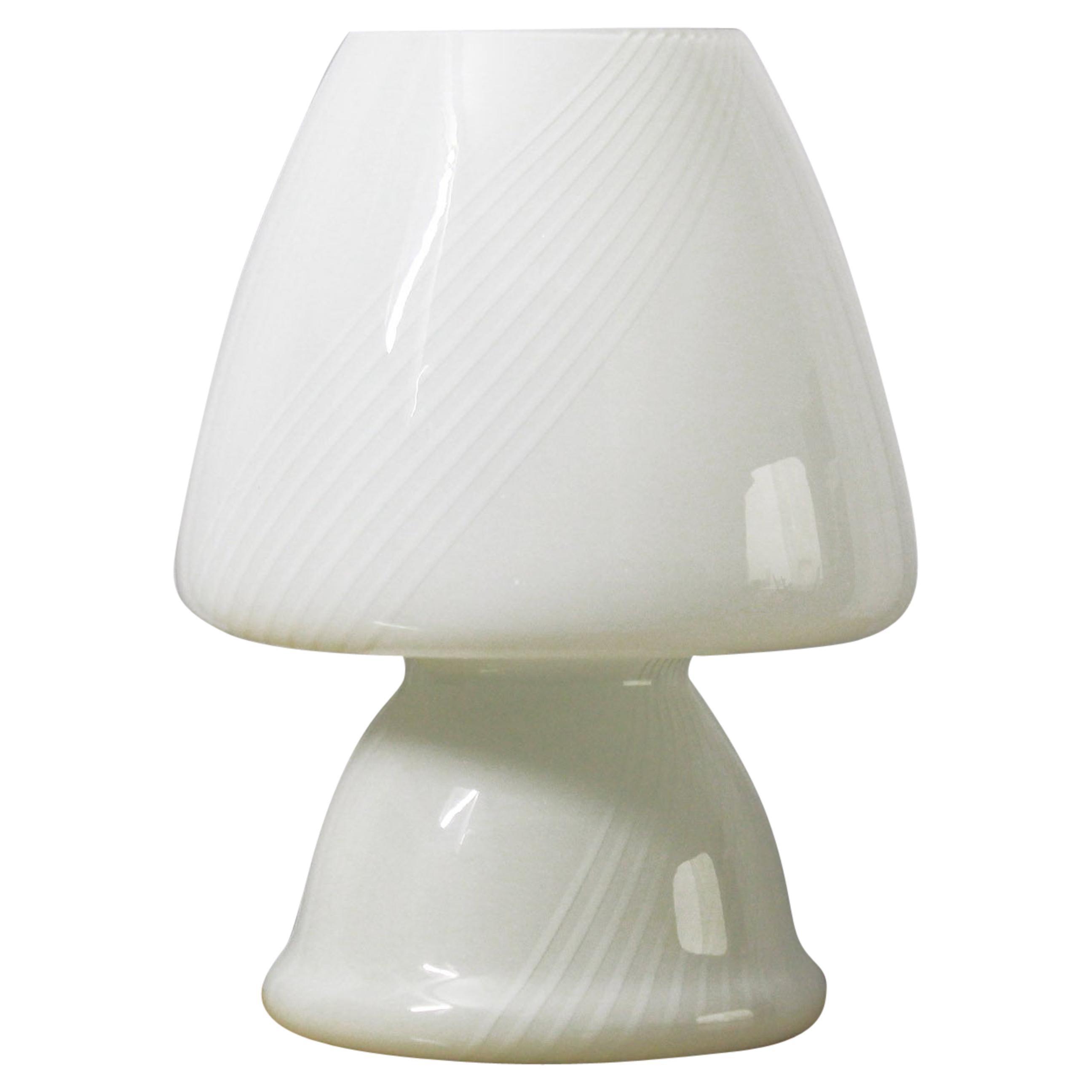 1960s Vintage Glass Mushroom Table Lamp, 1960s