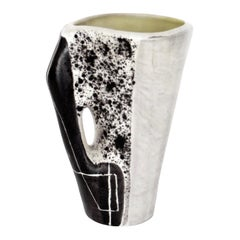Made Jolain French Ceramic Vase Abstract Drawings Black and White