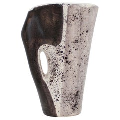Mado Jolain French Ceramic Vase with Abstract Drawings Black, White and Grey