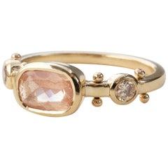 M. Hisae Handmade Cushion Sunstone and Bead 14 Karat Gold Trinity Ring
