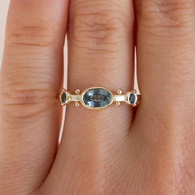 Contemporary M. Hisae Teal Blue Sapphire Trinity Ring