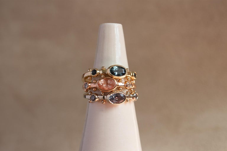 M. Hisae Teal Blue Sapphire Trinity Ring In New Condition In Woodbury, CT