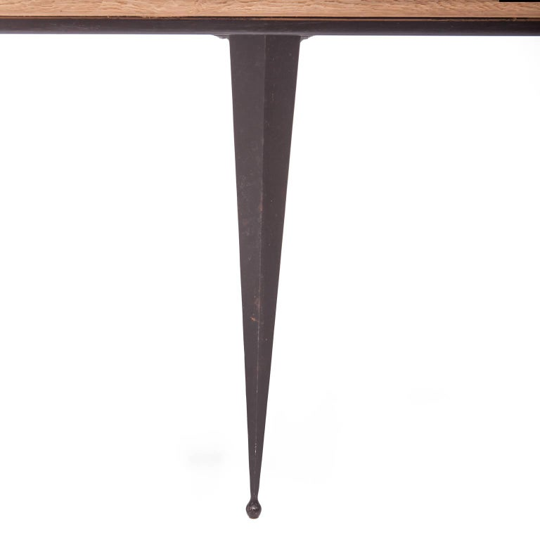 American Made to Order Reclaimed Oak Top Table with Tapered Black Iron Legs For Sale