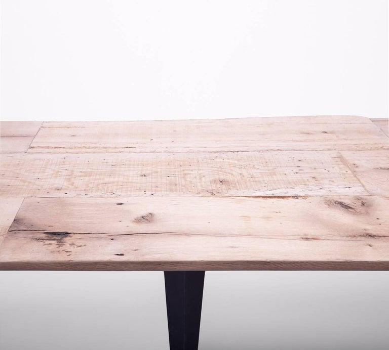 Made to Order Reclaimed Oak Top Table with Tapered Black Iron Legs In Excellent Condition For Sale In Southampton, NY