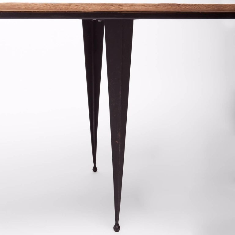 Contemporary Made to Order Reclaimed Oak Top Table with Tapered Black Iron Legs For Sale