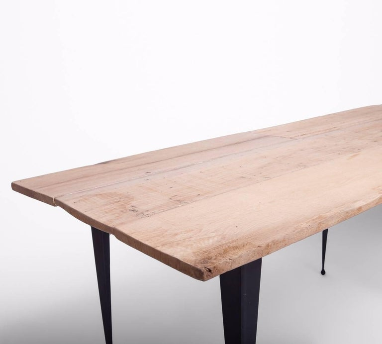 Wrought Iron Made to Order Reclaimed Oak Top Table with Tapered Black Iron Legs For Sale