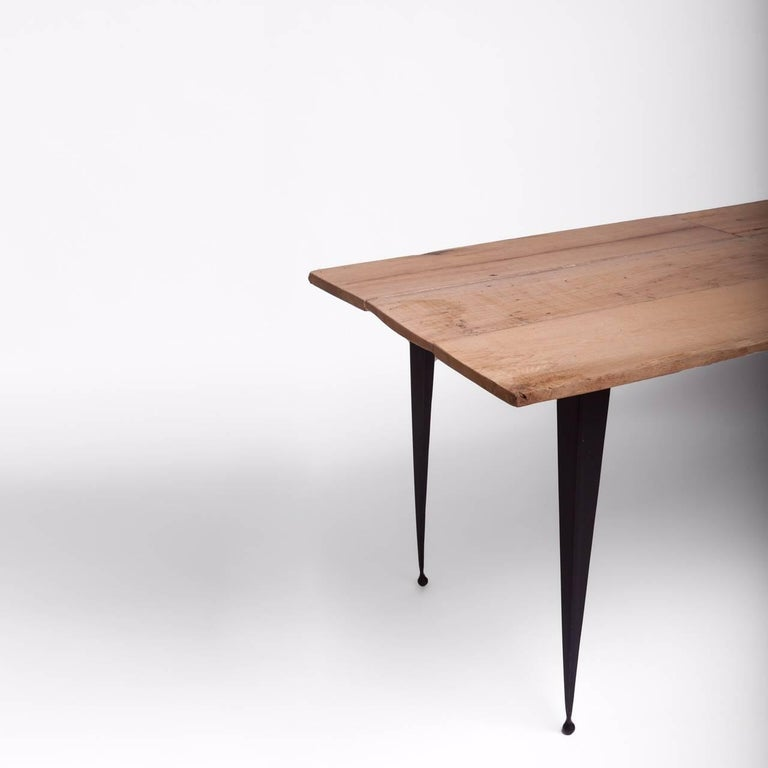 Made to Order Reclaimed Oak Top Table with Tapered Black Iron Legs For Sale 1