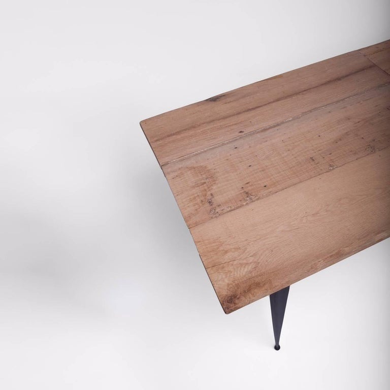 Made to Order Reclaimed Oak Top Table with Tapered Black Iron Legs For Sale 2