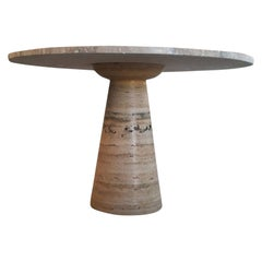 Round Italian Travertine Dining Table