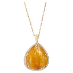 Made-To-Order Rutilated Quartz Diamond 18 Karat Yellow Gold Asymmetric Necklace