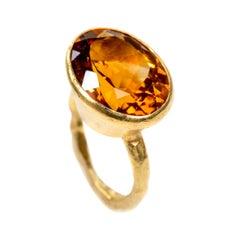 Madeira Citrine 18 Karat Gold Ring Handmade by Disa Allsopp