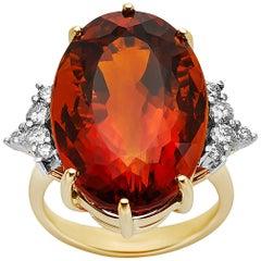 Madeira Citrine and Diamond 18 Karat Yellow Gold Ring
