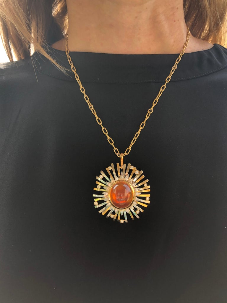 Madeira Citrine Cabochon 24.14 Carat Pendant Necklace Brooch For Sale 5