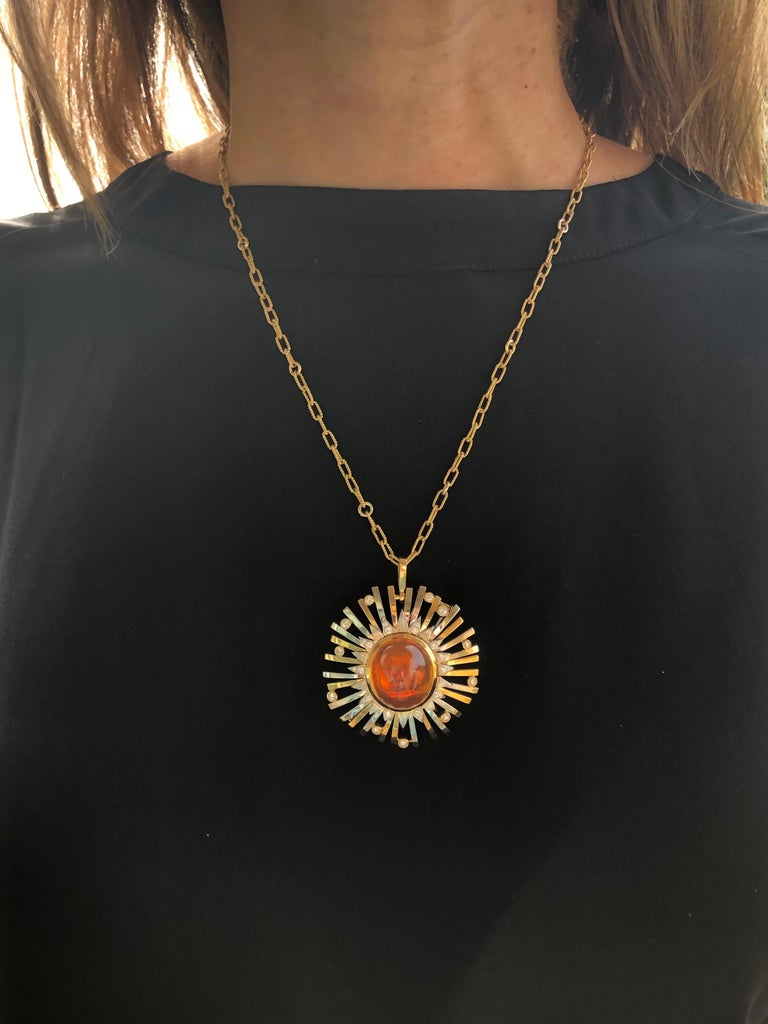 Madeira Citrine Cabochon 24.14 Carat Pendant Necklace Brooch For Sale 6