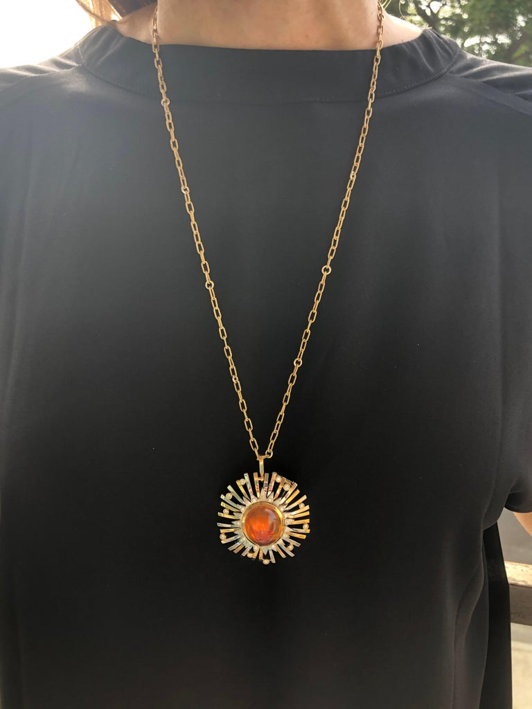 Madeira Citrine Cabochon 24.14 Carat Pendant Necklace Brooch For Sale 7