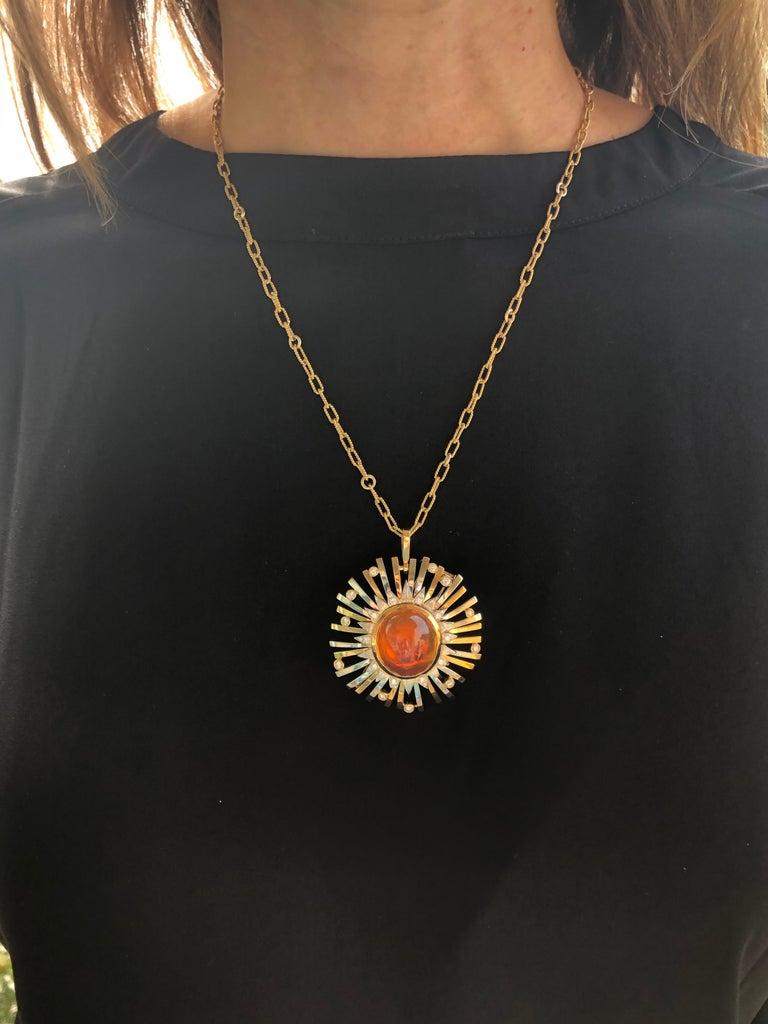 Madeira Citrine Cabochon 24.14 Carat Pendant Necklace Brooch For Sale 8