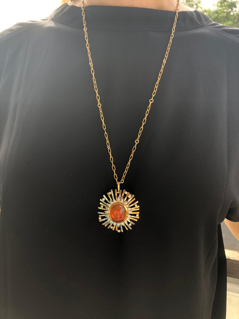 Madeira Citrine Cabochon 24.14 Carat Pendant Necklace Brooch For Sale 9
