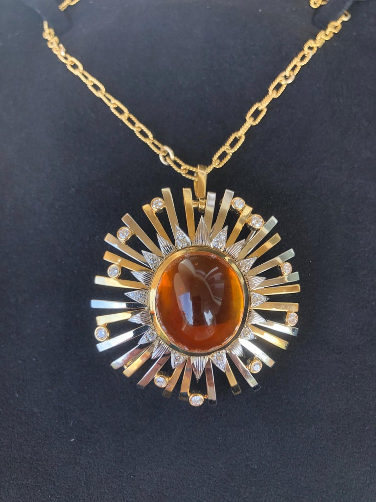Madeira Citrine Cabochon 24.14 Carat Pendant Necklace Brooch For Sale 10