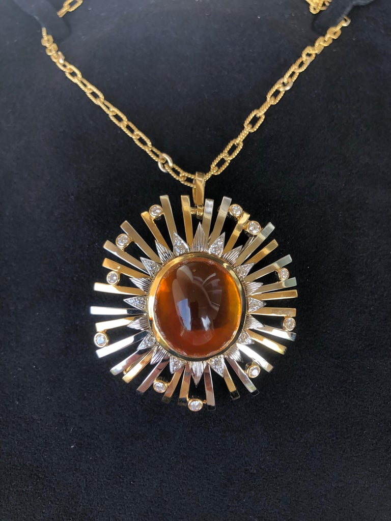 Madeira Citrine Cabochon 24.14 Carat Pendant Necklace Brooch For Sale 11
