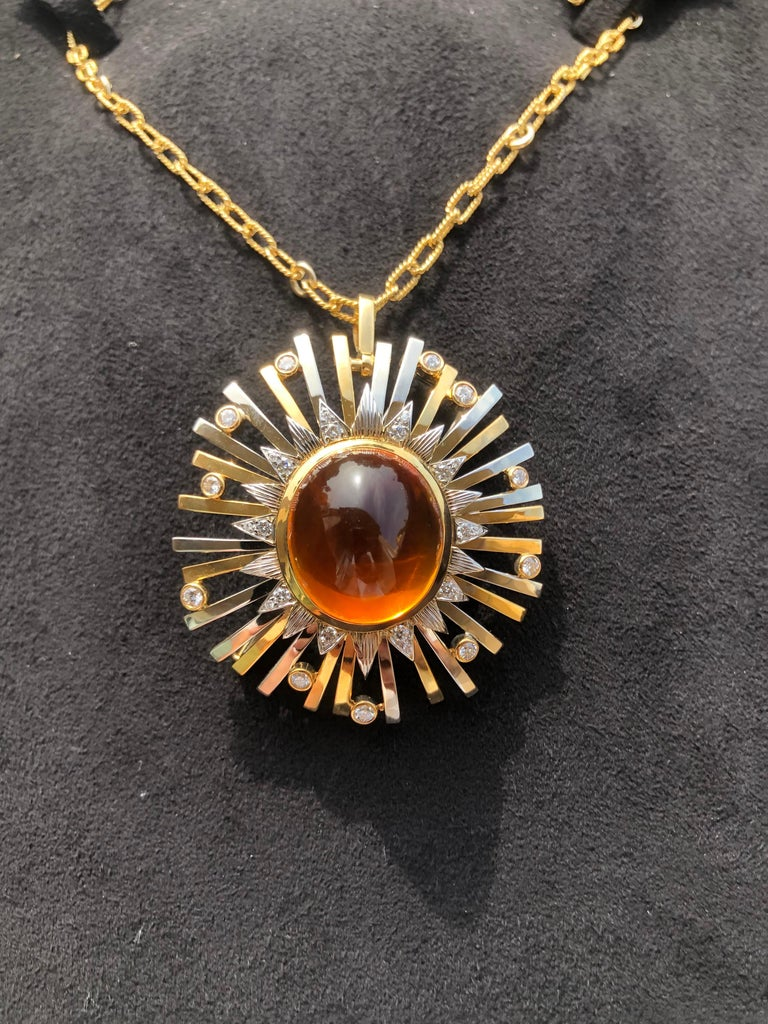 Madeira Citrine Cabochon 24.14 Carat Pendant Necklace Brooch For Sale 12