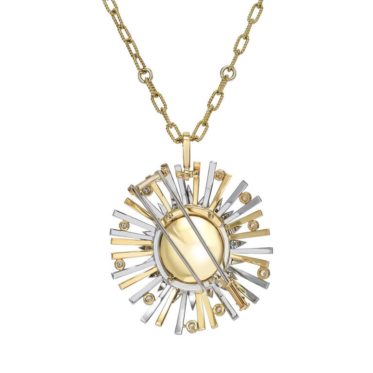 Highly prized 24.14 carat Madeira Citrine Cabochon, set in a one-of-a-kind, state of the art, convertible pendant necklace and brooch, adorned by a total of 0.86 carats of diamonds.  Crafted by extremely skilled hands in 18K yellow and white