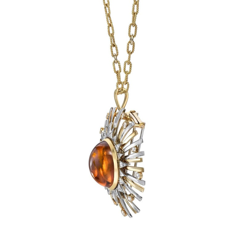 Contemporary Madeira Citrine Cabochon 24.14 Carat Pendant Necklace Brooch For Sale