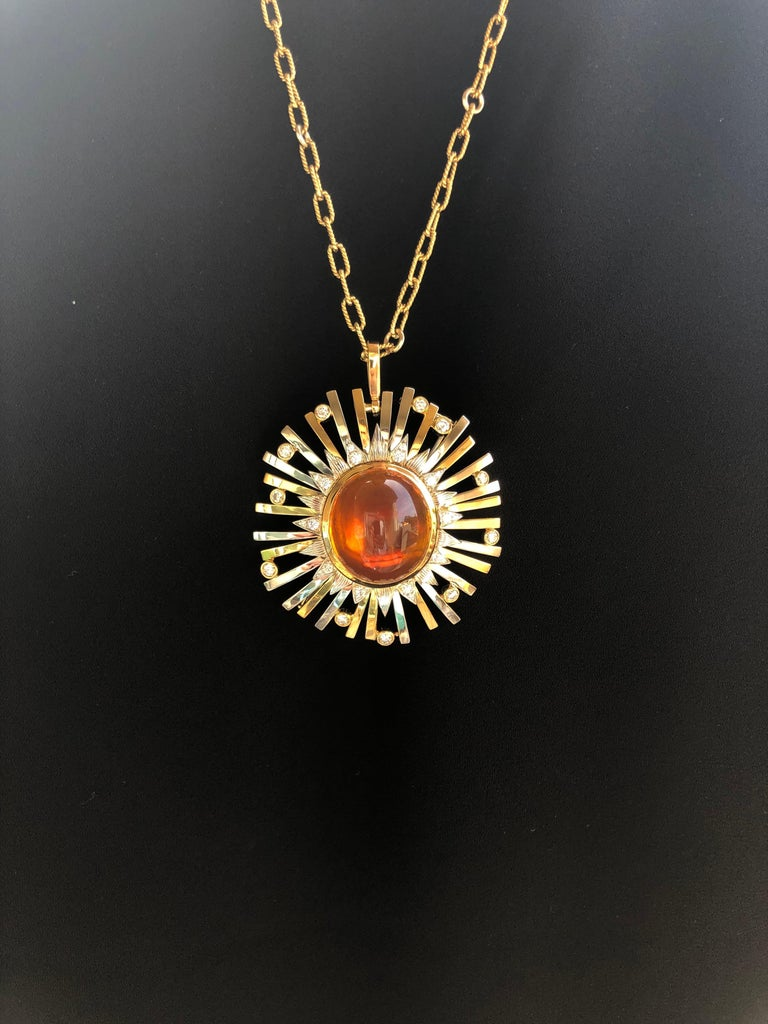 Women's Madeira Citrine Cabochon 24.14 Carat Pendant Necklace Brooch For Sale