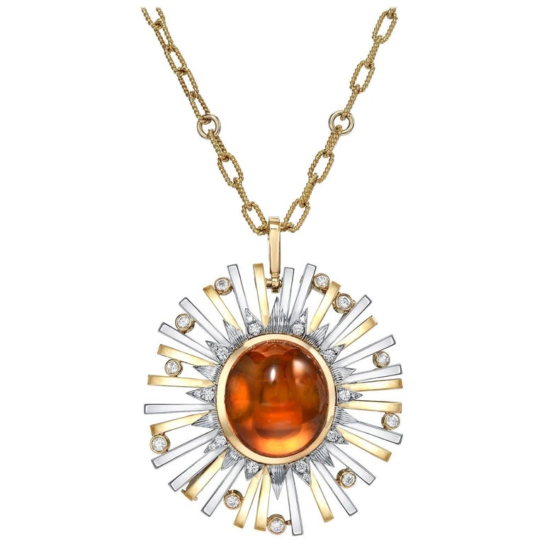 Madeira Citrine Cabochon 24.14 Carat Pendant Necklace Brooch For Sale