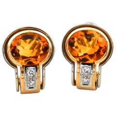 Madeira Citrine Diamond 18 Karat Two-Tone Gold Earrings, Antonini, Italy
