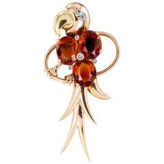 Madeira Citrine Rose Cut Diamond Gold Platinum Macaw Bird Brooch Clip