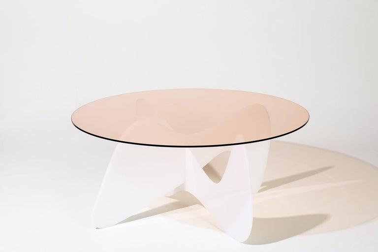 American Madeira Coffee Table, Rose Glass / White Varnish For Sale