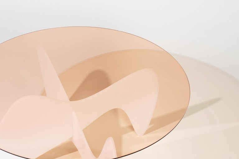 Madeira Coffee Table, Rose Glass / White Varnish For Sale 1