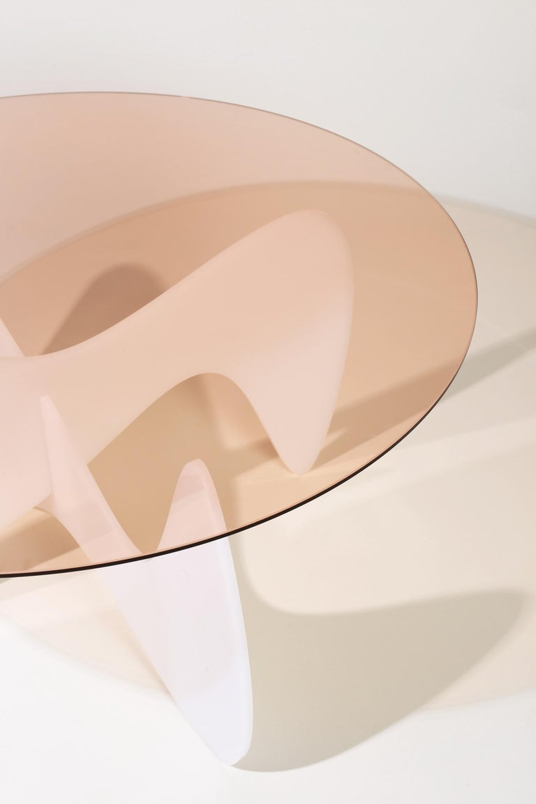 Madeira Coffee Table, Rose Glass / White Varnish For Sale 2