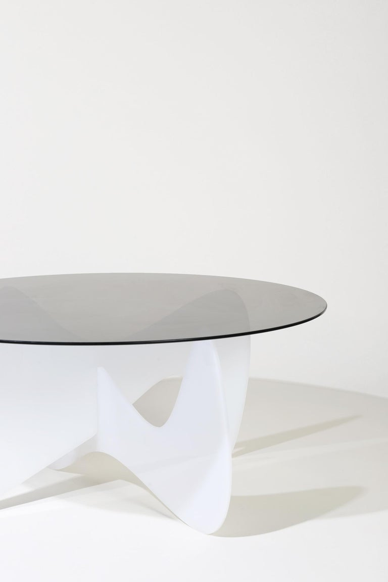 American Madeira Coffee Table, Smoked Glass / White Varnish For Sale