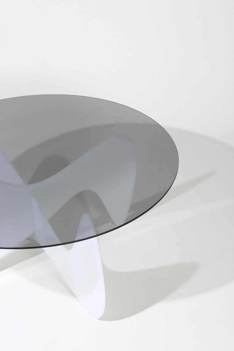 Madeira Coffee Table, Smoked Glass / White Varnish In New Condition For Sale In St. Augustine, FL