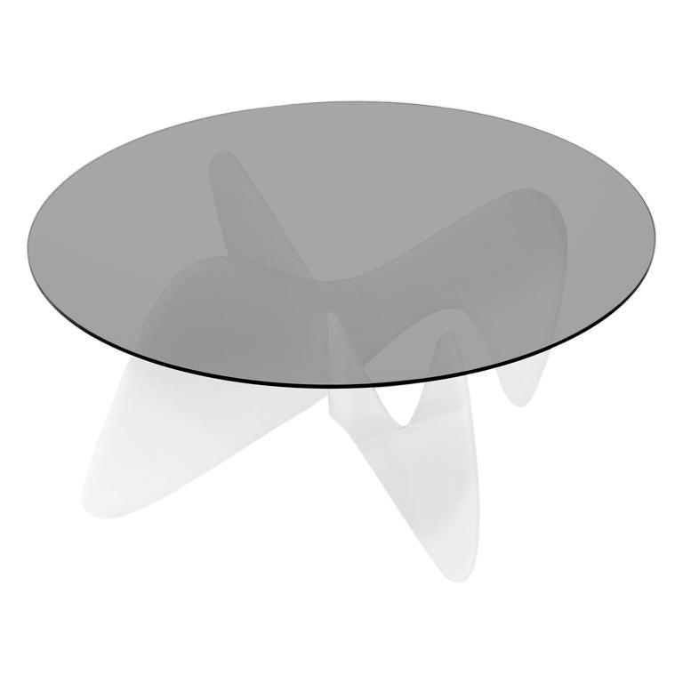 Madeira Coffee Table, Smoked Glass / White Varnish For Sale