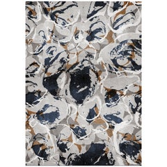Madeira Navy & Gray Area Rug in Hand-Tufted Wool & Botanical Silk by Rug'Society